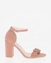 Le Château Floral Faux Suede Ankle Strap Sandal