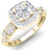 DazzlingRock Collection 1.22 Carat (ctw) 14K Yellow Gold Round Cut Diamond Ladies Halo Style Engagement Ring 1 1/4 CT (Size 5.5)