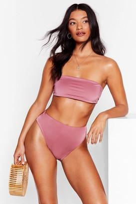 Nasty Gal Womens Let's Get Salty High-Leg Bikini Bottoms - Mauve