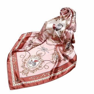 Fablcrew Womens Silk Scarf Multi-use Printed Square Scarf Satin Scarves for Ladies 90 * 90CM