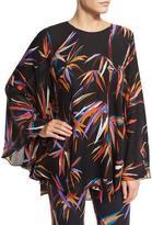 Emilio Pucci Short Flutter-Sleeve Printed Silk Caftan, Black/Multi