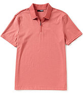 Murano Liquid Luxury Slim-Fit Solid Short-Sleeve Zip Polo