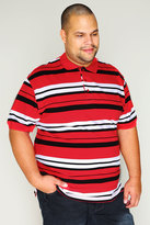 Yours Clothing Red, White & Black Stripe Short Sleeve Polo Shirt