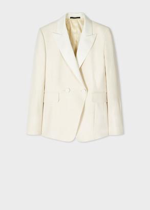 Women's Ivory Wool-Blend Tuxedo Double-Breasted Blazer