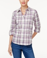 Alfred Dunner Petite Pintucked Plaid Shirt