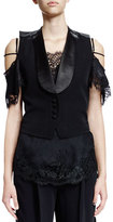 Givenchy Button-Front Backless Vest, Black