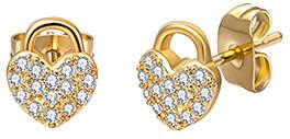 Loren Diane Lo'ren Girls' Earrings GOLD - Cubic Zirconia & 18k Gold-Plated Heart Stud Earrings