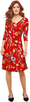 Joe Browns Floral Print Midi Dress with 3/4 Length Sleeves