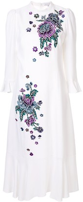 Andrew Gn Embroidered Floral Midi Dress