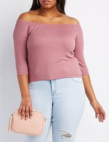 Charlotte Russe Plus Size Ribbed Off-The-Shoulder Top