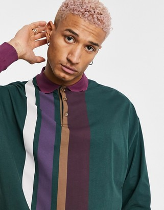 ASOS DESIGN oversized long sleeve striped rugby polo shirt