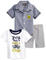 Nannette 3-Pc. Graphic-Print T-Shirt, Woven Shirt & Shorts Set, Toddler & Little Boys (2T-7)