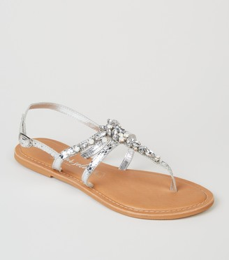 New Look Leather Metallic Diamante Sandals