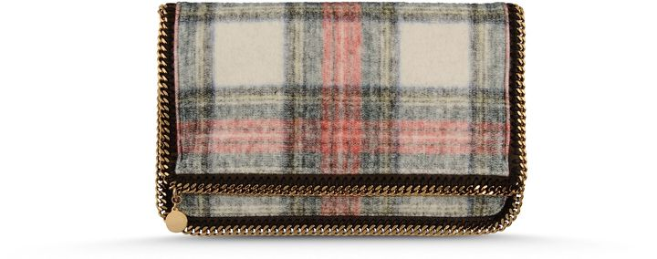 Stella McCartney Falabella Fold Over Tartan Clutch
