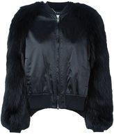 Givenchy fur panelled bomber jacket - women - Fox Fur/Nylon/Polyamide/Wool - 36