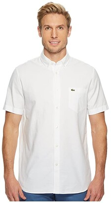 Lacoste Short Sleeve Oxford Button Down Collar Regular (White) Men's Short Sleeve Button Up