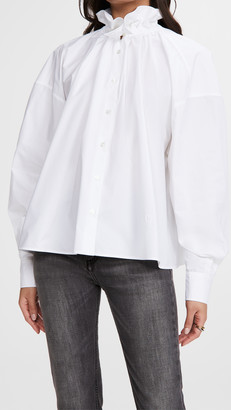 MM6 MAISON MARGIELA Ruffle Neck Poplin Shirt