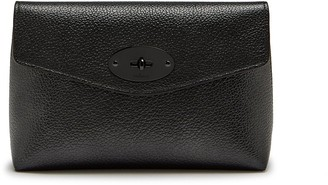 Mulberry Darley Cosmetic Pouch Gunmetal Metallic Small Grain