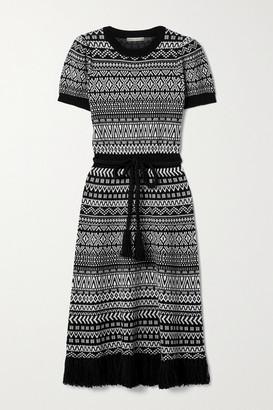Alice + Olivia Julia Belted Fringed Wool-blend Jacquard Midi Dress - Black