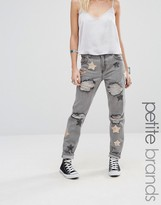 Glamorous Petite Distressed Boyfriend Jean With Rose Gold Sequin Star Detail