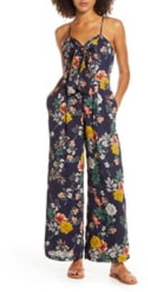 Chelsea28 Floral Tie Front Wide Leg Jumpsuit