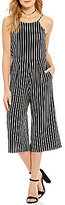 Moa Moa Striped High Neck Culotte Jumpsuit