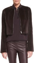 The Row Retza Mink-Fur Cropped Jacket, Dusty Violet