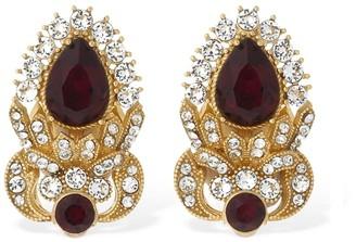 Dolce & Gabbana Sterling Silver Stud Earrings W/Crystals