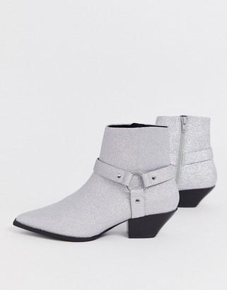 Asos Design DESIGN Aidan harness western ankle boots in glitter
