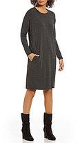 Eileen Fisher Round Neck Long Sleeve Tencel Stretch Jersey Dress