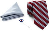 Ben Sherman Silk Stripe Tie, Solid Pocket Square, & Lapel Pin Box Set