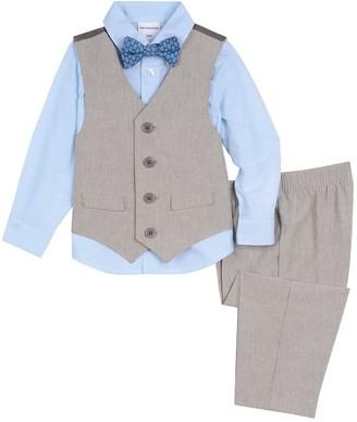 Van Heusen Baby Boy 4 Pc Linen Vest, Shirt, Pants & Bow Tie Set