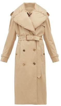 Burberry Padded Collar Cotton Gabardine Trench Coat - Womens - Light Beige