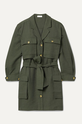 Anine Bing Kaiden Belted Tencel-blend Twill Mini Dress - Army green