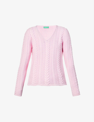 Benetton V-neck cotton-knit jumper