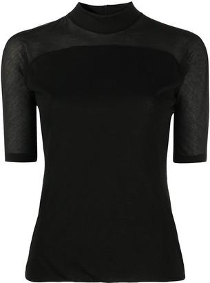Andrea Ya'aqov Semi-Sheer Short-Sleeve Blouse