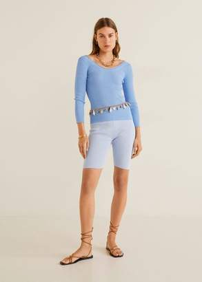 MANGO Ribbed knit sweater sky blue - XS - Women