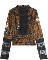 Anna Sui Lace Panel Printed Top