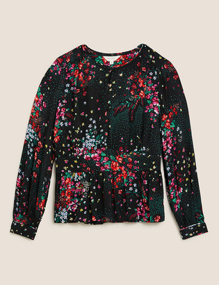 Marks and Spencer Floral Waisted Long Sleeve Blouse