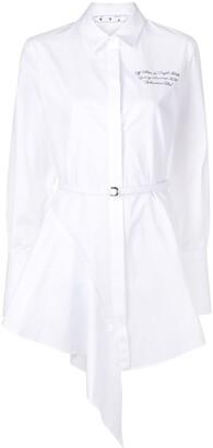 Off-White Asymmetric-Hem Mini Shirtdress