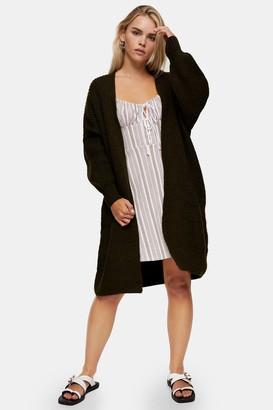 Topshop Womens Petite Khaki Self Edge Cardigan - Khaki