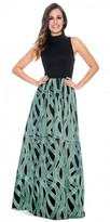 Decode 1.8 Sleeveless High Neck Vermicular Print Plus Size Evening Dress