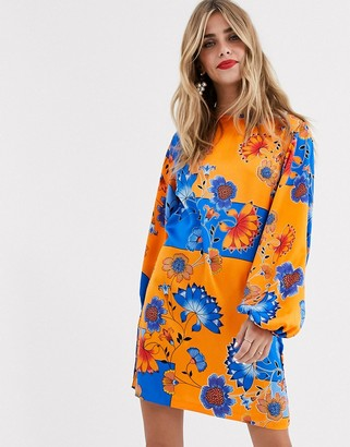 Liquorish kimono mini dress in blue and orange print