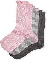 Neiman Marcus Three-Pair Multi-Printed Ruffle Socks, Pink/Gray