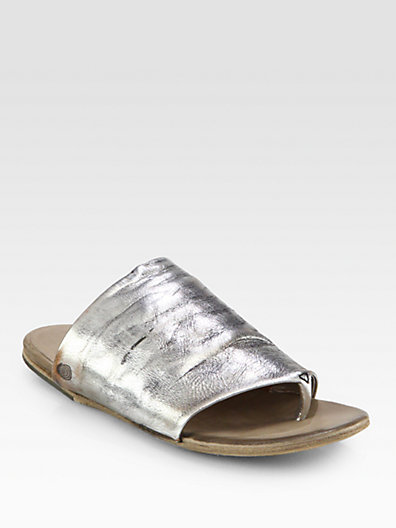 Marsèll Distressed Metallic Leather Thong Sandals