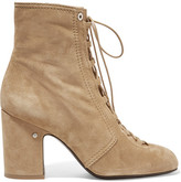 Laurence Dacade Milly Lace-up Suede Ankle Boots - Sand