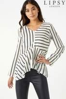 Next Womens Lipsy Stripe High Low Long Sleeve Blouse - Black