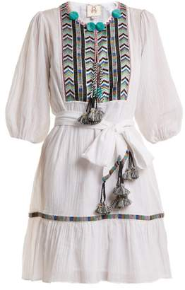 Figue Svana Geometric-embroidered Cotton Dress - Womens - White Multi