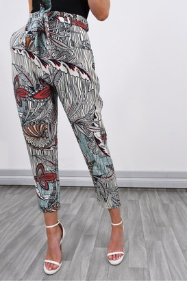 Iclothing Lucy Sparks Printed Slouchy High Waisted Trousers | Mint
