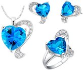 Babao Jewelry Jewelry Sets Babao Jewelry Blue Love Heart 18K Platinum Plated Cubic Zirconia Crystals Pendant Necklace Earrings Set Ring Size 7